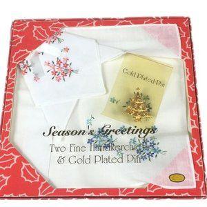 Vintage Christmas Set Gold Plated Tree Pin Hankies